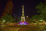 Indianapolis 500 Framed Prints - Monument Circle Indianapolis Digital Oil Paint Framed Print by David Haskett