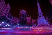 Indy Posters - Monument Circle Indianapolis Light Streaks Night Poster by David Haskett