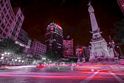 Tricks Framed Prints - Monument Circle Indianapolis Light Streaks No Yellow Framed Print by David Haskett