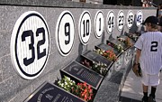 Yankee Stadium Bleachers Art - Monument Park Yankee Stadium by Allen Beatty