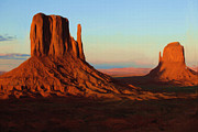 Outdoors Digital Art Posters - Monument Valley 2 Poster by Ayse T Werner