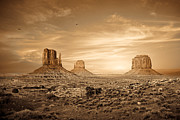 Brown Toned Framed Prints - Monument Valley Golden Sunset Framed Print by Susan  Schmitz