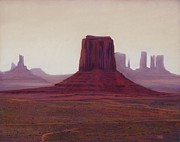 Haze Pastels Posters - Monument Valley- Haze Poster by Xenia Sease
