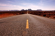 Highways Posters - Monument Valley Highway Poster by Benjamin Yeager