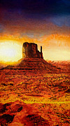 Navajo Painting Acrylic Prints - Monument Valley Acrylic Print by Mo T
