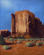 Southwest Landscape Pastels Metal Prints - Monument Valley- Sunlit Metal Print by Xenia Sease