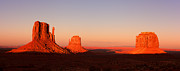 Mountain Valley Framed Prints - Monument valley sunset pano Framed Print by Jane Rix