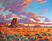 Sun Baker Posters - Monument Valley Sunset Poster by Patty Baker
