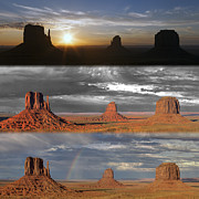 Monument Valley Triptych Print by Patrick Jacquet
