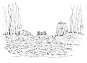 Utah Drawings Posters - Monument Valley Utah Poster by Robert Birkenes