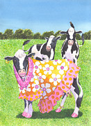 Whimsy Framed Prints - Moo Moo Framed Print by Catherine G McElroy