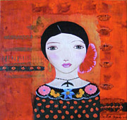 Luna Mixed Media Prints - Mood of a Red Room Print by Christina Fajardo