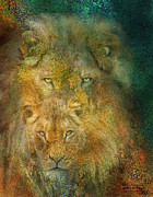 African Lion Art Mixed Media - Moods Of Africa - Lions by Carol Cavalaris