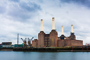 Grey Clouds Framed Prints - Moody Battersea Power Station Framed Print by Semmick Photo