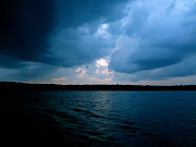 Storm Clouds; Sunset; Twilight; Water Framed Prints - Moody Blue   Framed Print by Jacqueline Athmann