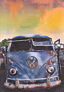 Volkswagen Pastels Prints - Moody Blues Print by Art Haus Ink
