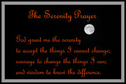 Courage To Change The Things I Can And The Wisdom To Know The Difference. Framed Prints - Moon - Serenity Prayer - Orange Framed Print by Barbara Griffin
