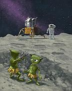 Funny Monsters Prints - Moon Alien Kids Catapult Firing Game With Astronauts Print by Martin Davey