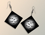 Trick Or Treat Digital Art Originals - Moon and Bat Paper Earrings by Melissa A Benson