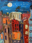 Cityscape Drawings - Moon and Deep Blue Sky by Mary Carol Williams
