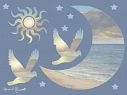 Moon And Stars Print by Diane Romanello