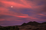 Moon And Sunrise Print by Robert Bales