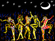 Moon And The Dancers Print by Anand Swaroop Manchiraju