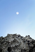 Matsu Framed Prints - Moon and the Rock Framed Print by Hakai Matsu