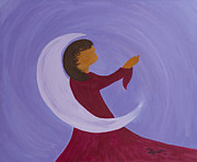 Night Angel Paintings - Moon Angel by Minnie Lippiatt