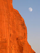 Jeff Brunton Metal Prints - Moon at Monument Valley Metal Print by Jeff Brunton