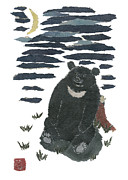 Moon Bear And Crescent Moon  Print by Keiko Suzuki