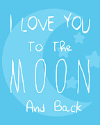 Typographic  Photos - Moon Blue by Patrycja Polechonska