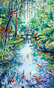 Fort Worth Painting Prints - Moon Bridge Fort Worth Botanical Garden Texas Print by Beverly Deutsch Adams