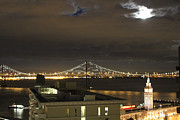 Clock Pyrography Framed Prints - Moon burst over San Francisco Oakland Bay Bridge Framed Print by Ron McMath