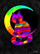 Kittens Digital Art - Moon Cat by Nick Gustafson