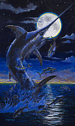 Black Marlin Framed Prints - Moon Doggie Off00124 Framed Print by Carey Chen