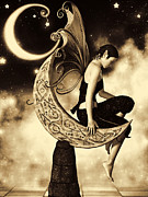 Faerie Digital Art Metal Prints - Moon Fairy Sepia Metal Print by Alexander Butler