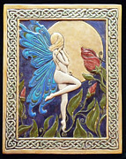Carved Tile Posters - Moon Fairy Poster by Shannon Gresham