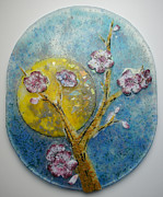 Blue Flowers Glass Art - Moon Fall by Michelle Rial