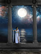 Brunette Posters - Moon Goddess Poster by Jill Battaglia