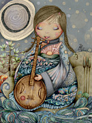 Baby Playing Art Print Prints - Moon Guitar Print by Karin Taylor