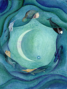 Continents Painting Framed Prints - Moon in Pisces Framed Print by L T Sparrow