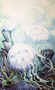 North Sea Paintings - Moon Jelly by William Love