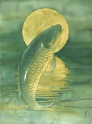 Koi Fish Painting Posters - Moon Koi Poster by Robert Hooper