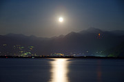 Sea Moon Full Moon Photo Posters - Moon light over a lake Poster by Mats Silvan
