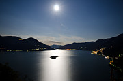 Sea Moon Full Moon Prints - Moon light reflected over an alpine lake Print by Mats Silvan