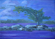 Lit Painting Originals - Moon Lit Island by Robert P Hedden