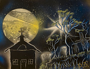 Red Roof Mixed Media Prints - Moon Lite Church  Print by Danny Jones