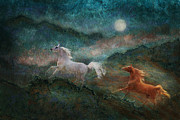 Horse Images Digital Art Prints - Moon Majesty Print by Melinda Hughes-Berland