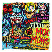 Comic Mixed Media Prints - Moon Monster Print by Vince Bonavoglia